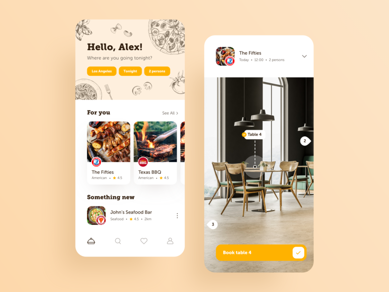 Restaurant Booking App app design illustration interfacedesign eat food table seats booking cafe restaurant app restaurants restaurant interface design typography user interface cards design ios ui app