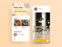 Restaurant Booking App app design illustration interfacedesign eat food table seats booking cafe restaurant app restaurants restaurant interface design typography user interface cards design ios ui app