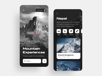 Mountain Experiences [Travel App] product design mobile images ux ui cards interface black and white dark ui dark app typography bold extended wide app ios travel agency travel app mountains travel