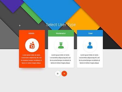 Select User Type material design ui day064 dailyui daily 064 select user type