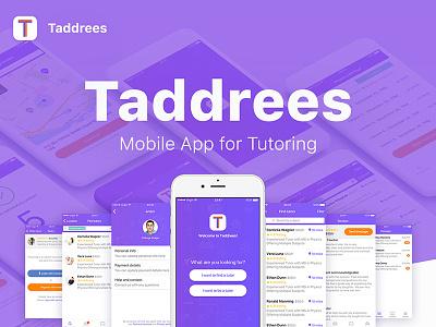 Taddrees Mobile App mobile onboarding app application student taddrees tutor tutoring ui uiux ux ios