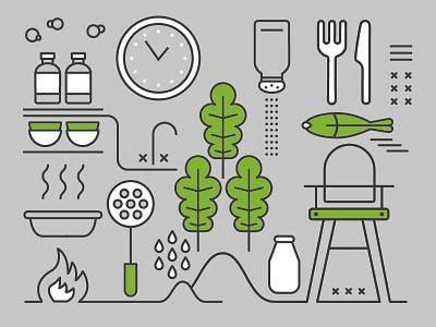 Kitchen icon fish kale food kitchen illustration vector