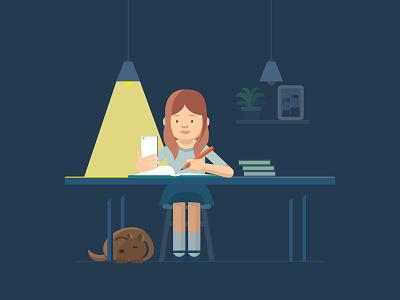 A Girl Studying art landing homework study house vector illustration
