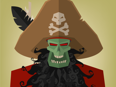 Monkey Island Illustration monkey island captain zombie skull pirate fantasy pc guybrush lechuck 90s retro videogames