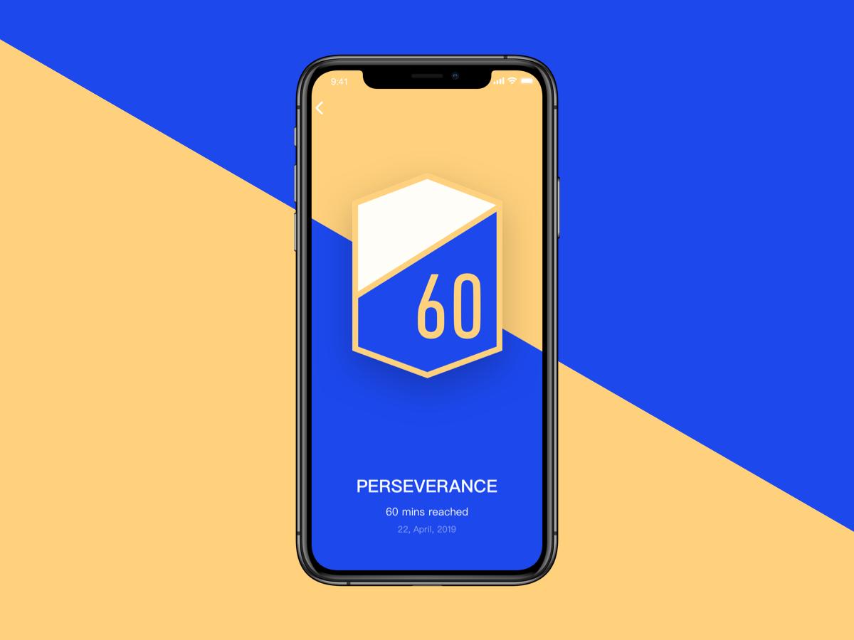 Phone - 60 Mins Reached design achievement app ui sketch