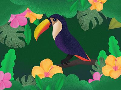Procreate illustration toucan jungle brushes procreate green leaves flowers bird nature design illustration