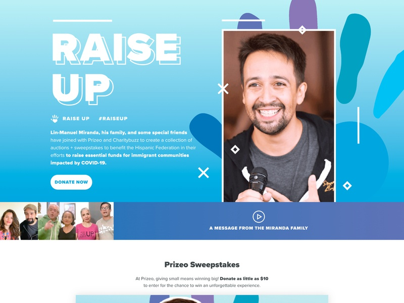 Raise Up Landing Page gatsby landing page lin-manuel miranda sweepstakes auction design charity