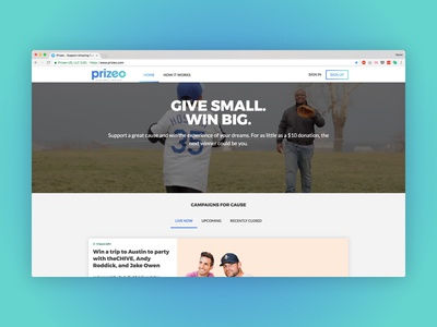 Prizeo Homepage product design gradient charity ux design ui design redesign