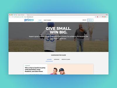 Prizeo Homepage product design gradient charity ux design ui design redesign