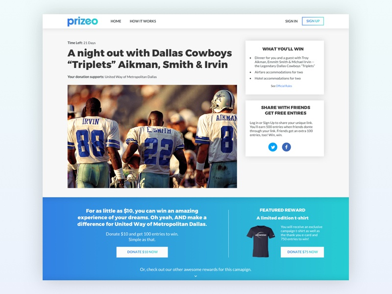 Prizeo Campaign Page Redesign product design gradient campaign cause charity ux design ui design redesign