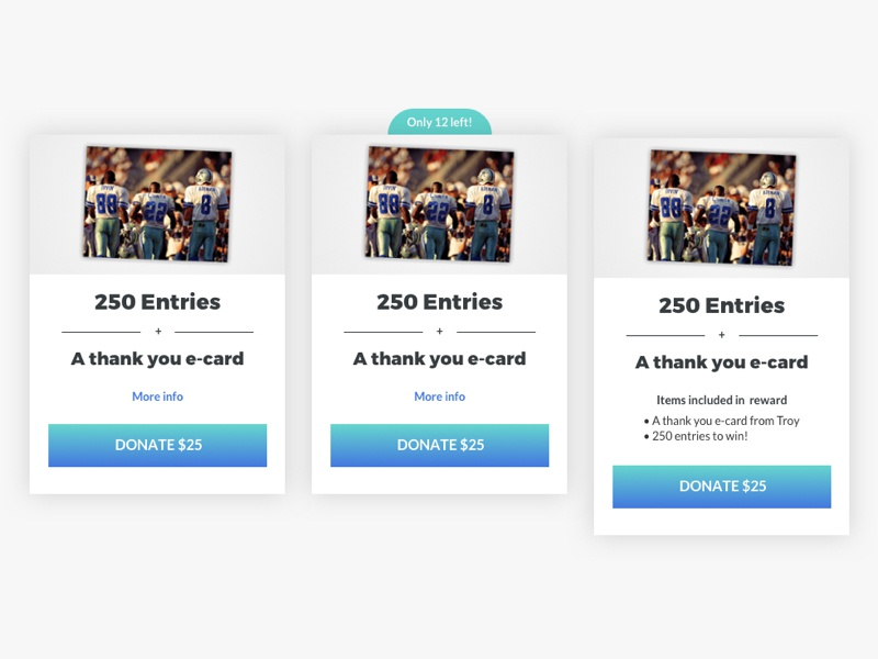 Prizeo Campaign Reward Card States states material cards ux design ui design redesign product design gradient charity cause campaign