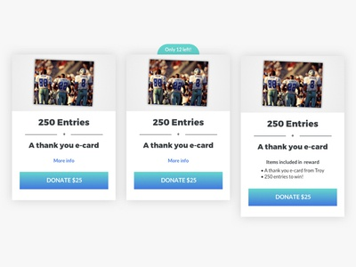 Prizeo Campaign Reward Card States