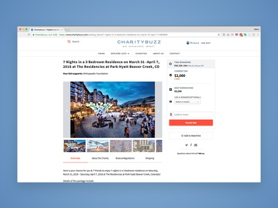 Charitybuzz Auction Lot Page Redesign social good e-commerce design ui ux redesign charity auction