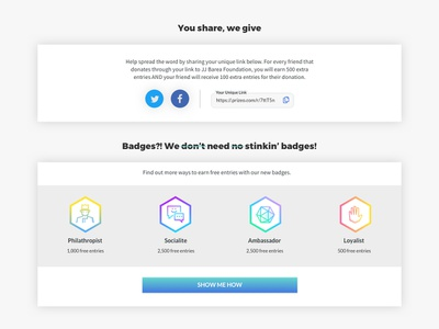 Prizeo Thank You Page — Badges confirmation post-transactional transactional copywriting copy writing fun personality ui design product design e-commerce ui charity