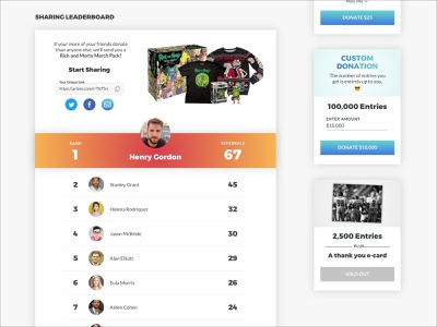 Prizeo Campaign Sharing Leaderboard sweepstakes ui design e-commerce ux design ux product design ui non-profit donate donation charity leaderboard