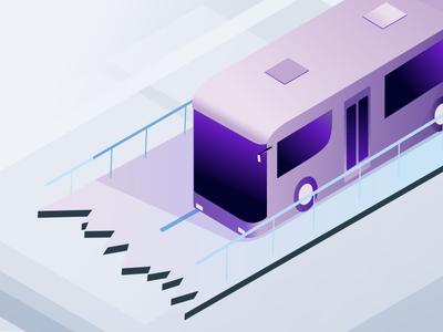 bus Volt design drawn test purple icons illustration noise art isometric design charter bus isometric art