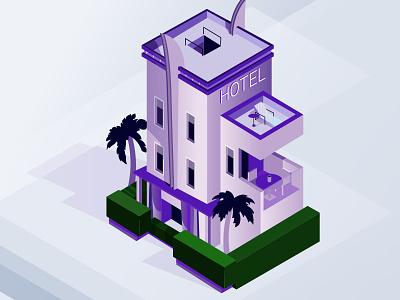 Isometric Hotel Volt design test purple drawing icons noise illustration isometric art