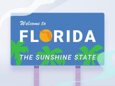 I95 Florida welcome Volt design drawn lines drawing test noise illustration highway sign florida welcome