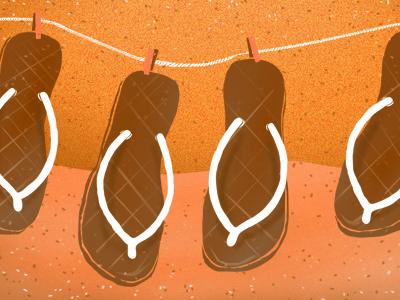 sandals on string sandals string clothes line noise