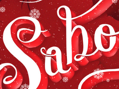 Text Sample hand drawn letters holly red
