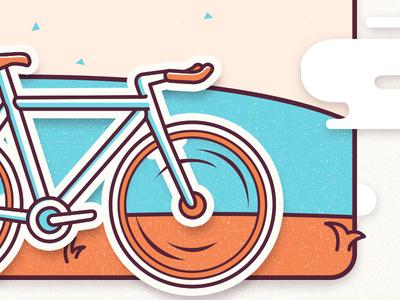 Happy Bicycle Day outside frame cloud go wheel cream teal orange bike