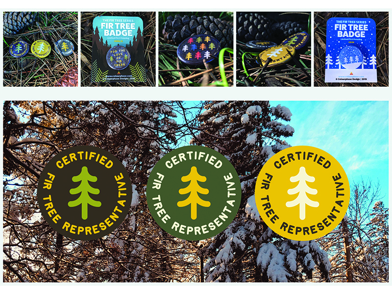 Fir Tree Badges fir pinetree pinetrees hiking camping outdoors buttons pins badgedesign badges trees firtrees