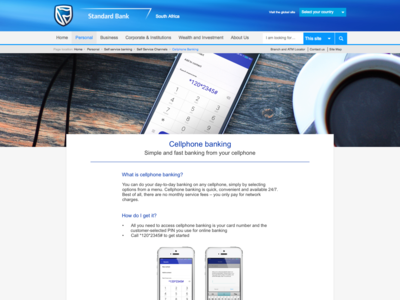Cellphone banking page layout