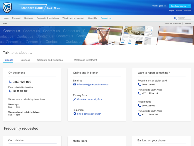 Contact directory for Standar Bank website web ux ui design