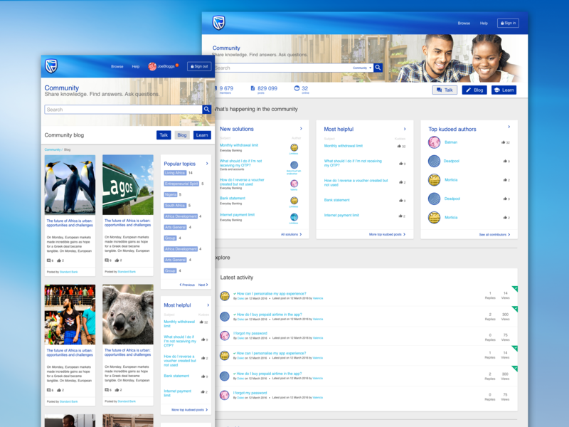 Standard Bank Community website web ux ui design