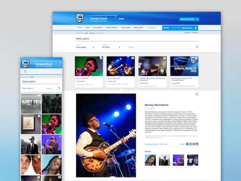 Standard Bank Media Gallery website ux ui design
