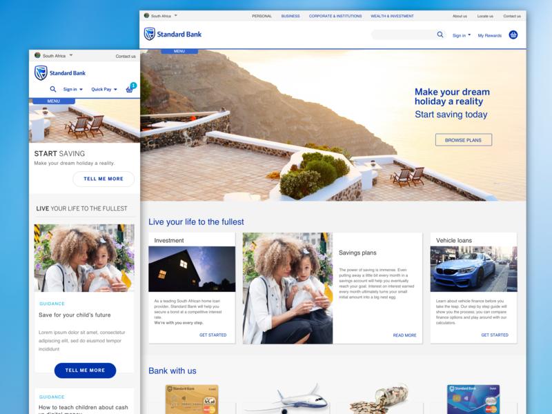 Home page concept for Standard Bank responsive design website ux ui design
