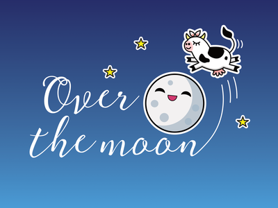 Over the moon illustration and free phone wallpaper lettering moon cows digital illustration