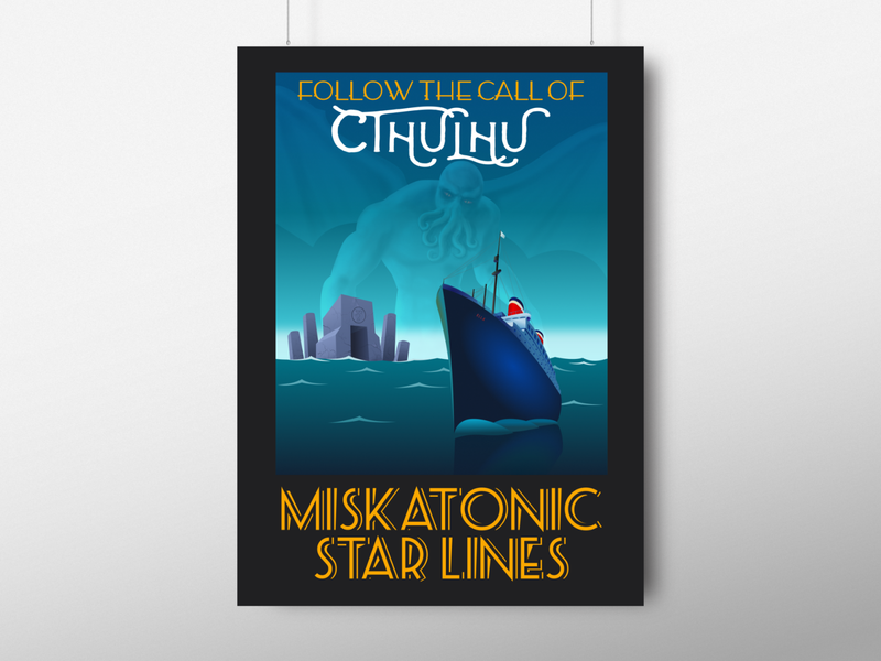 Call of Cthulhu vintage travel poster illustration typography poster retro vintage hp lovecraft design vector illustration travel poster