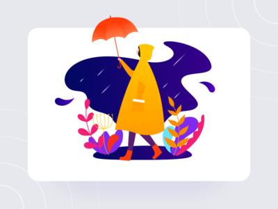 Raining Day girl rain cloudy day raincoat umbrella illustration