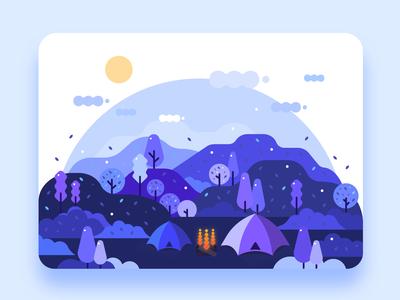 Forest Camping - 扁平插画练习打卡第4天