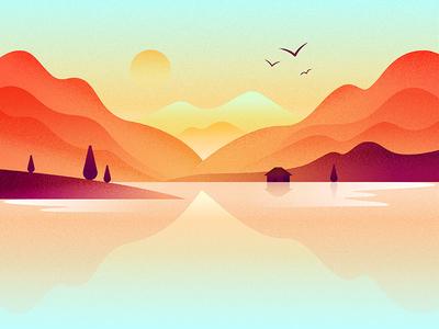 Mountain lake - 扁平插画打卡第5天