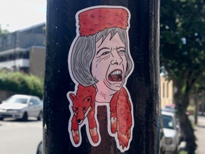 Quietly protesting political art activism sticker illustration digital fox hunting theresa may
