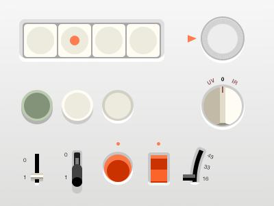 Flat Braun UI (.psd) flat braun ui skeu gui buttons switch level dieter rams
