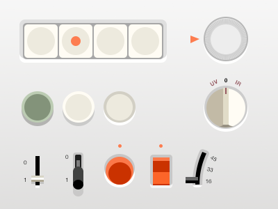 Flat Braun UI (.psd) flat braun ui skeu gui buttons switch level dieter rams