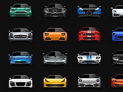 Sports cars icon set