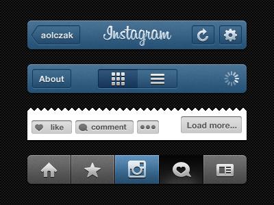 Insta GUI (.psd) instagram gui ui psd navigation freebie iphone app nav