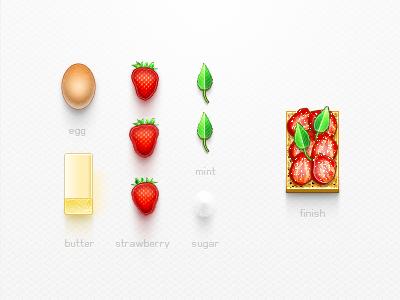 Strawberry Desert Kit egg kit psd desert mint strawberry butter cake biscut creativemarket