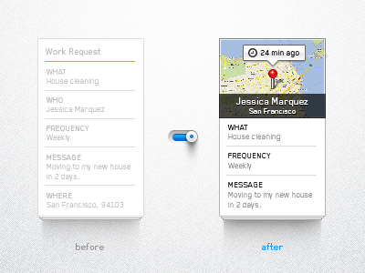 Before / After thumbtack before after evolution switch map data meaningful ux ui