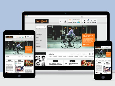 Responsive Intranet orange filters cards responsive intranet
