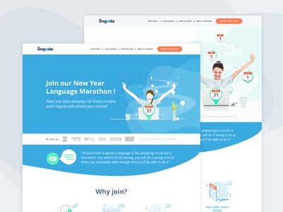 "Landing page ""Language Marathon"" learning"