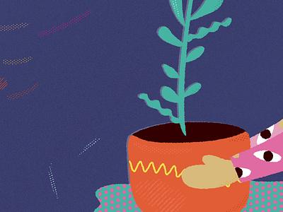 Shading illustration noise orange blue plant illustration shading