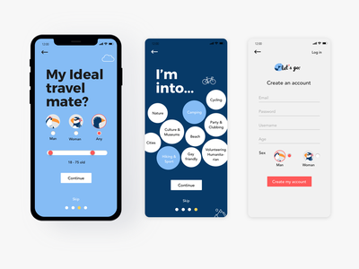 Let's go app travel app red and blue red orange mobil interface icon typography app login log-in log in travel yellow blue vector ui illustration design ios