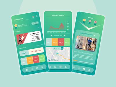 Concept - Running App illustration user friendly compatable simple minimalis winner running app vector branding ios android ux ui design