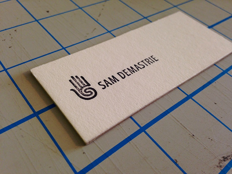 Personal business card business card sam demastrie logo hand mark black stamp rubber stamp