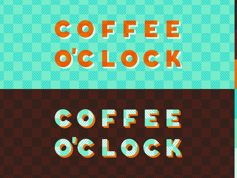 Coffee o'Clock demastrie sam brand logo oclock orange pattern shop coffee